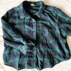 Women's Crop Top Blue and Green Flannel